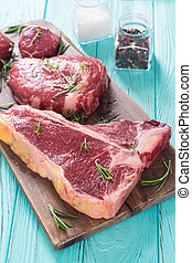 Variety of raw beef meat steak