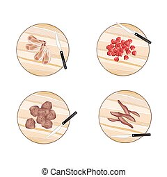 Variety of Raw Meat on Cutting Boards