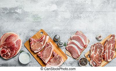 variety of raw meat pork.