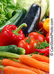 Variety of raw vegetables - Composition with fresh raw...