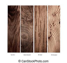 Variety of real wood samples
