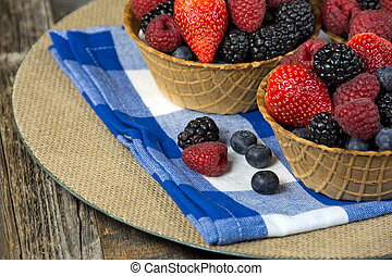 berries in waffle bowl