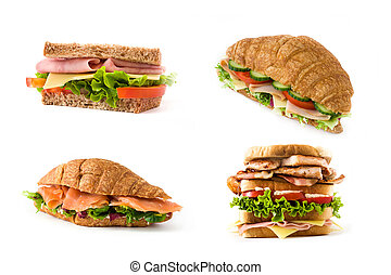 Variety of sandwich and croissant collage on white background