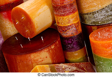 Variety of Scented Candles - Assortment of colorful scented...
