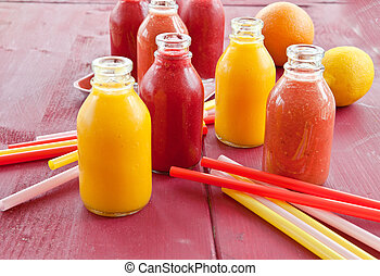 Variety of smoothies - Variety of breakfast smoothie in...
