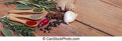 Variety of spices on wood table