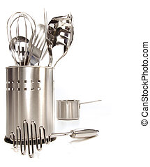 Variety of stainless utensils on white