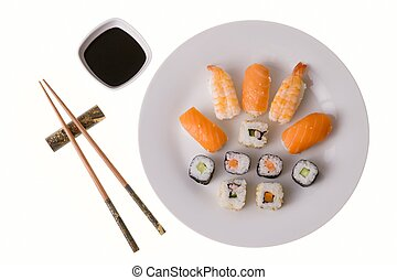 Variety of sushi rolls