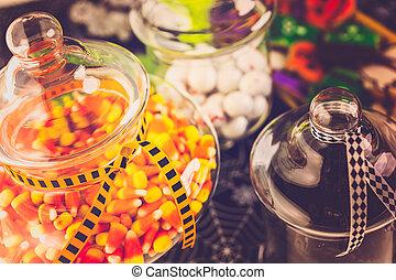 Halloween treats - Variety of sweets prepared as Halloween ...