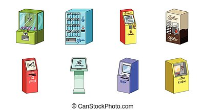 Variety of terminals icons in set collection for design. ATM...