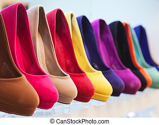 variety of the colorful leather shoes in the shop