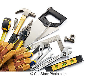tools - variety of tools against white background with copy...