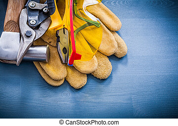 Variety of tools for repairing construction concept