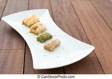 Variety of turkish baklava