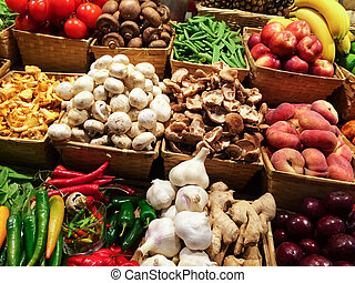 Variety of vegetables and fruits at the market
