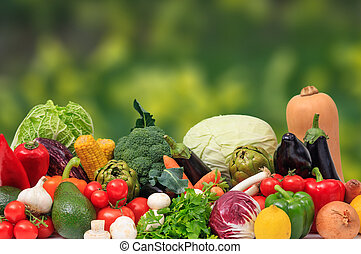 Variety of vegetables on nature background