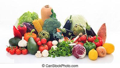 Variety of vegetables on white background