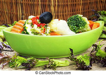 Variety of vegetables with feta