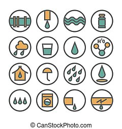 Variety of water set icon. Collection of water icons in flat line style vector illustration isolated on white background