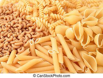 variety of whole grain pasta