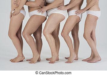 Variety of women's naked legs