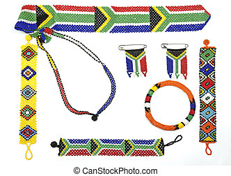 Variety of Zulu Beadwork Threaded into Bracelets and Flags...
