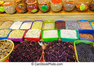 Variety Spices in Market in Oaxaca