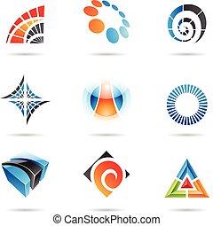vario, astratto, set, 5, icone