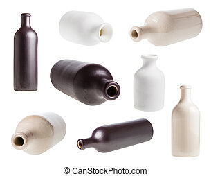 vario, bottiglie, isolato, ceramica, set, bianco