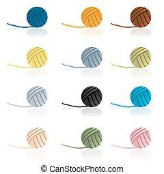 vario, color, pelotas, de, lana, reflexión, eps10
