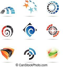 vario, colorido, resumen, iconos, conjunto, 19