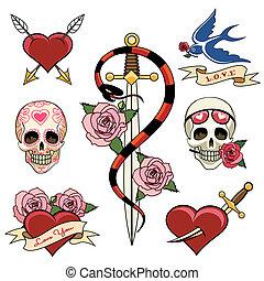 vario, corazón, tatuaje, gráficos, daga, cráneo