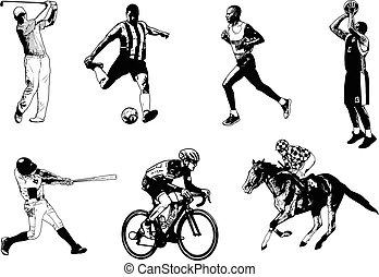 vario, deportes, bosquejo, ilustración