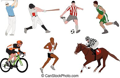 vario, deportes, detallado, ilustración