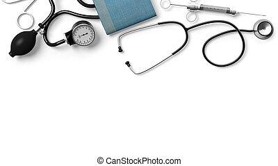 vario, equipo médico, aislado, blanco, plano de fondo
