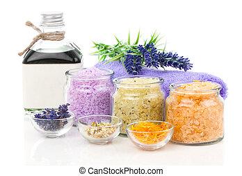 Generi isolato bagno fiori vario backg bianco sale generi isolato bagno fiori vario - Bagno con sale ...