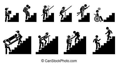 vario, gente, en, escalera, o, escaleras.