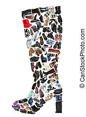vario, hecho, bota, shoes, op