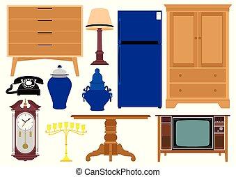 vario, ilustración, muebles