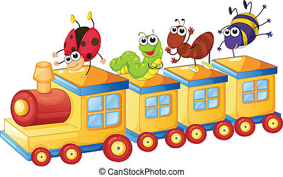 vario, insetti, su, treno