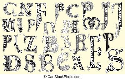 vario, lettere, medievale, capitale