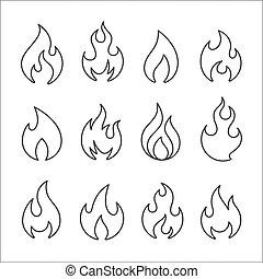vario, lineare, forme, l, fuoco, set., fiamme, icona, fiamma, icons.