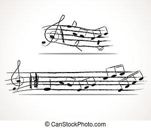 vario, note musica, su, doga, vettore, illustrazione