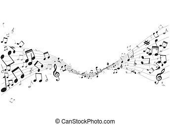 vario, note musica, su, doga, vettore