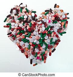 vario, píldoras, en, un, forma, de, corazón