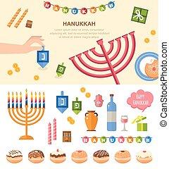 vario, plano, símbolos, celebración, hanukkah, aislado, ...