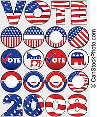 vario, político, botones, y, iconos