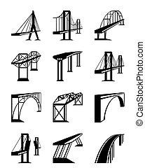 vario, puentes, en, perspectiva