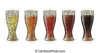 vario, realistico, vettore, birre, alto, 3d occhiali