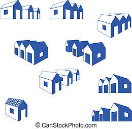 vario, señales, de, pequeño, casas